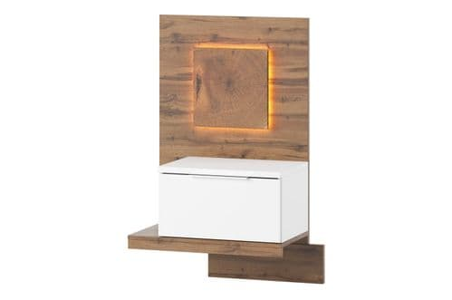 Hilton Matt White With Oak Effect Bedside Table L LSZLV68