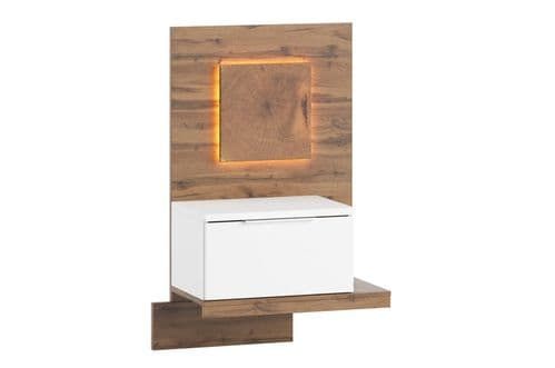 Hilton Matt White With Oak Effect Bedside Table R LSZLV68