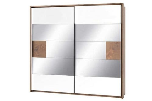 Hilton Matt White With Oak Effect Mirrored Sliding Door Wardrobe SZLV73