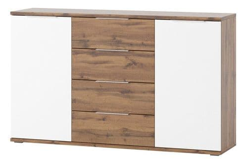 Hilton Matt White With Oak Effect Wide Sideboard SZLVW45
