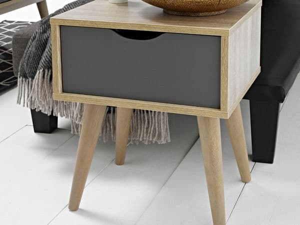Jumieges Grey And Oak Lamp Table 19LD484