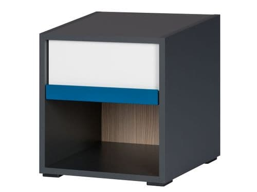 Karlo White With Graphite Effect 1 Drawer Bedside Table SZIK51