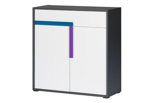 Karlo White With Graphite Effect Small Compact Sideboard SZIK10