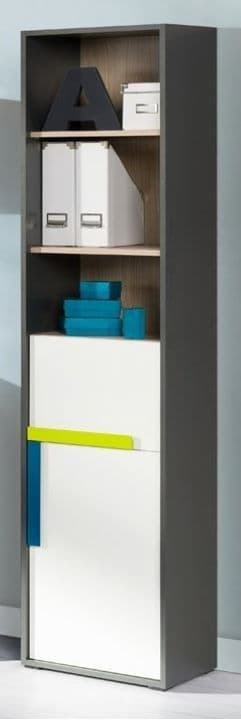Karlo White With Graphite Effect Tall 1 Door Bookcase SZIK01