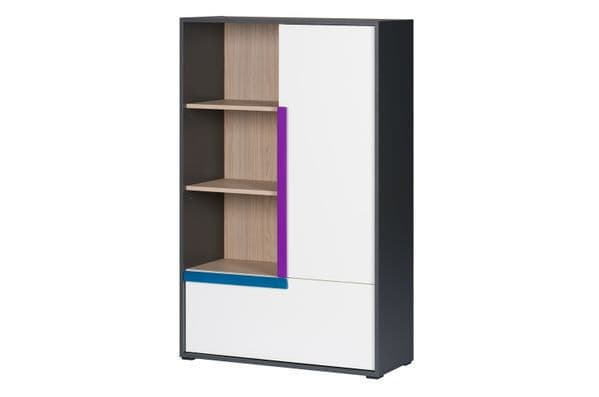Karlo White With Graphite Effect Tall Sideboard With Bookcase SZIK12