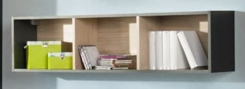 Karlo White With Graphite Effect Wall Mounted Bookcase Shelf SZIK31