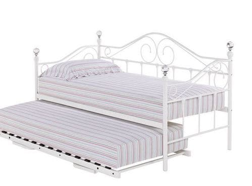 Kourou Metal Glossy White Trundle Bed 17LD226