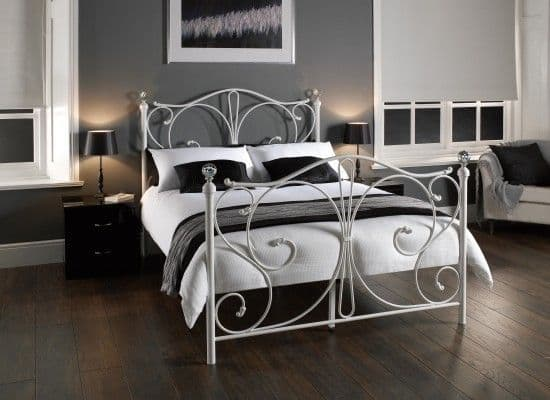 Kourou Traditional Metal White Double Bed 17LD223