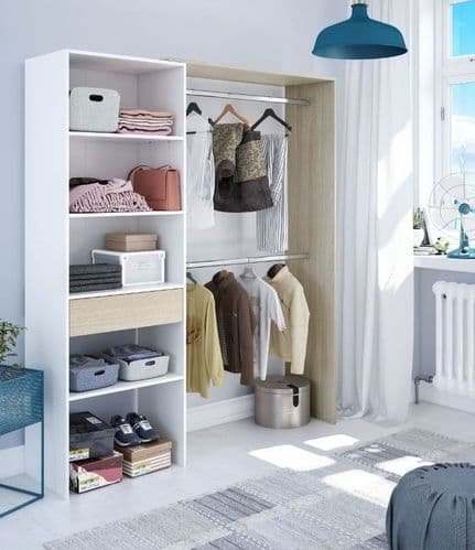 Kubik Oak and White Open Door Wardrobe With Shelves And Rail - 3083