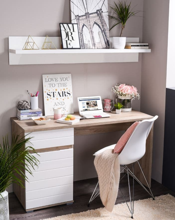 Langley Grey Oak And White Gloss Study Desk With Drawer  And Cupboard