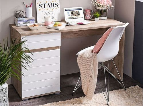 Langley Oak and White Gloss Desk With Drawer and Cupboard