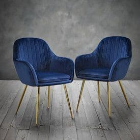 Laval Royal Blue Velvet Dining Chair (Pack Of 2) 19LD639