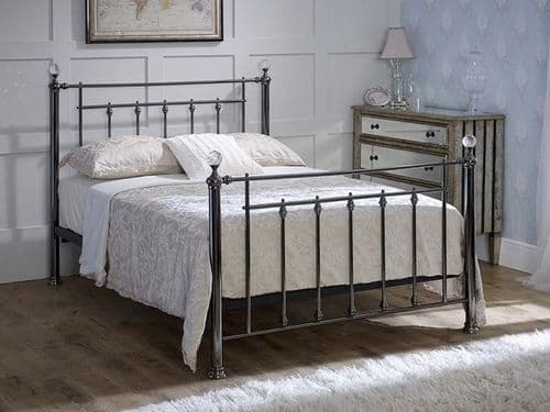 Libra Black Chrome With Crystal Metal 5ft King Size Bed - LLB
