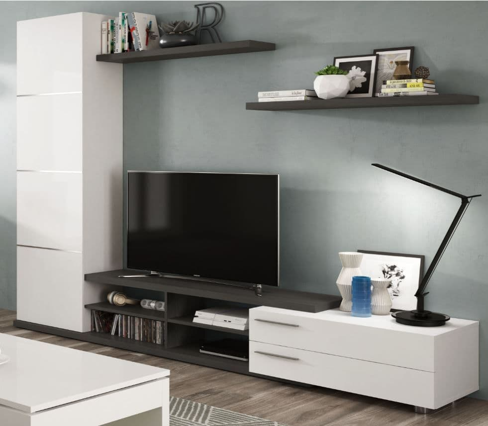 Limoa White Gloss And Grey Large Tv Entertainment Wall Unit Cabinet 2917