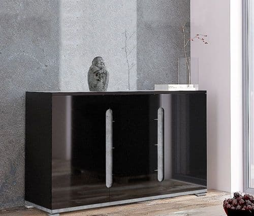 Lorenz High Gloss Black and Grey Wide Large Sideboard T46 3021