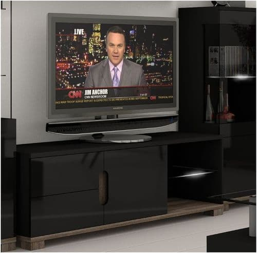 Lorenz High Gloss BLACK TV Cabinet Unit With Lights (P980LS 63)
