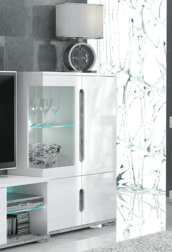 Lorenz High Gloss White and Grey Low Display Cabinet T12 3024