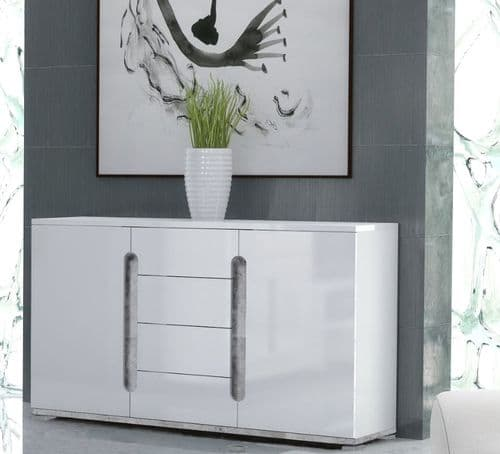 Lorenz High Gloss White and Grey Wide Large Sideboard T46 3020