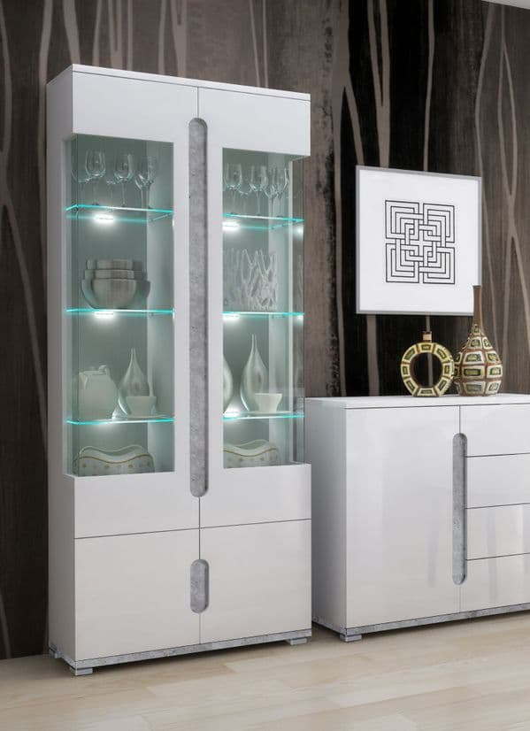 WOW Gloss Display Cabinets with Glass Doors by FurnitureFactor.co.uk
