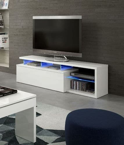 Lumin White Soft Gloss TV Cabinet Entertainment Unit 026630bo