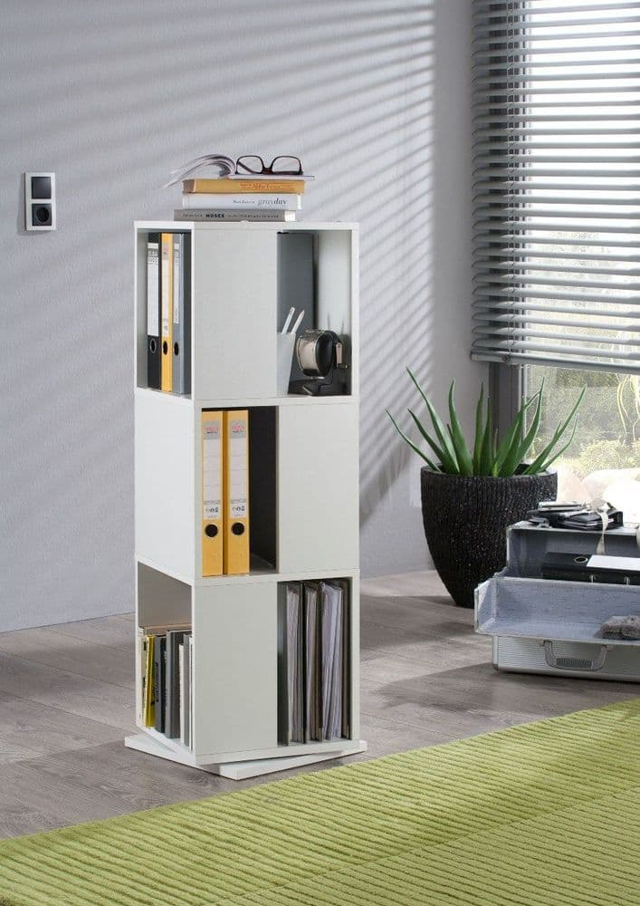 Luna White Effect Tall Revolving Filling Tower Boookcase Cabinet