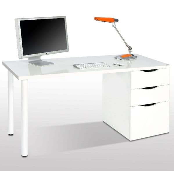 White Gloss Desk With Drawers - Madrid White Gloss Computer Desk