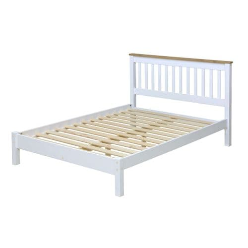 "Marina White Waxed 4'6"" Slatted Lowend Bedstead CP460LE"