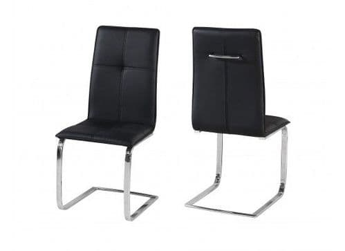 Maroni Black And Chrome Pack Of 2 Dining Chairs 17LD561