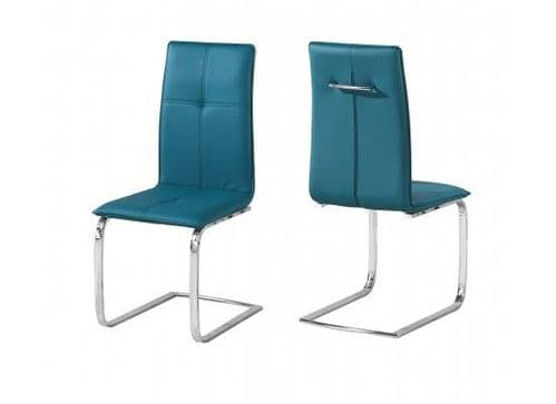 Maroni Teal And Chrome Pack Of 2 Dining Chairs 17LD561