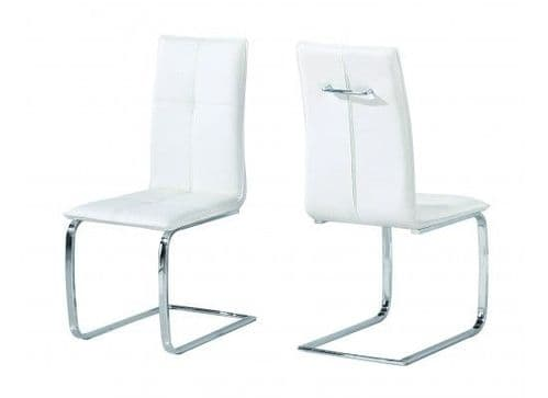Maroni White And Chrome Pack Of 2 Dining Chairs 17LD561