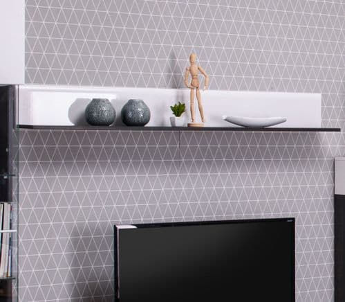 Monclere Floating Shelf White Gloss and Black Lounge Wall Shelving 3062