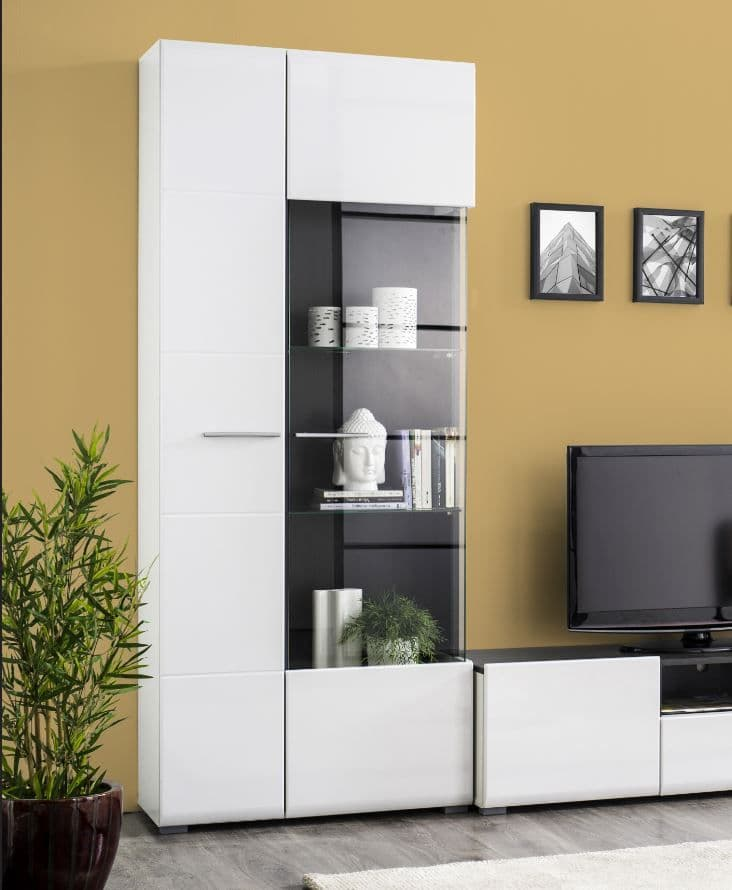 Monclere Modern Tall Wide 2 Door Showcase Display Cabinet in White Gloss with Black