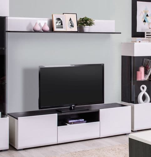 Monclere TV Cabinet in White Gloss and Black Entertainment Unit for TV up to 65 inch