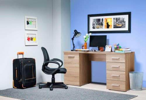 Munik Sonoma Oak Office Desk With Storage Drawers and Cupboard (1)