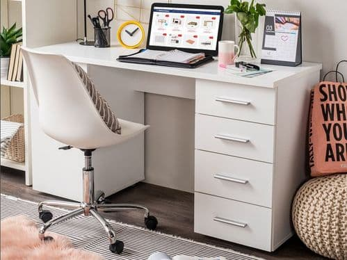 Munik White Office Desk With Storage Drawers and Cupboard