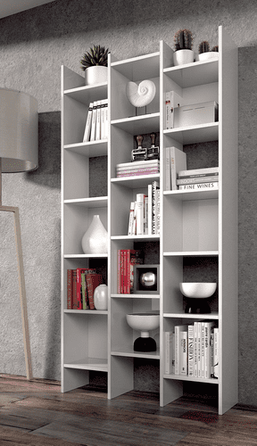 Naples Bookcase White Modern Triple Bookshelf