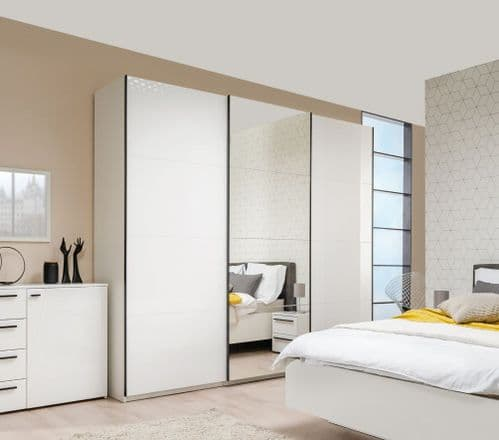 Napoli Extra Large 3 Door White Gloss Sliding Door Wardrobe With Mirror 270