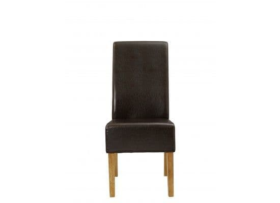 Narbonne Brown Faux Leather Set Of 2 Dining Chairs 17LD457