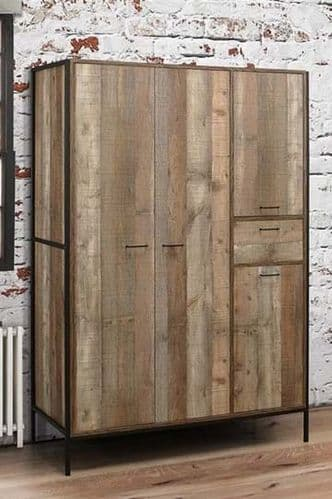 Nazaire Distressed Oak Effect 4 Door Wardrobe 19LD88