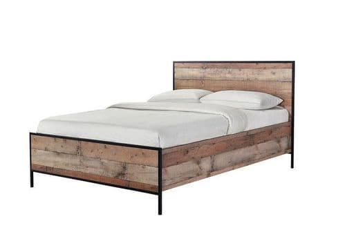 Nazaire Distressed Oak Effect Double Bed 19LD86