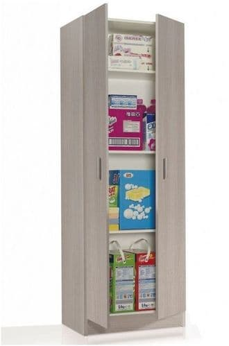 Oak Effect Tall 2 Door Universal Storage Utility Cupboard Armario 2p