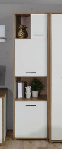 Olten Tall White Gloss & Oak Display Bookcase With 3 Doors and Open Shelves - CHRR711-M213