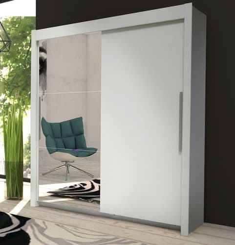 Oxford Sliding Door Wardrobe Slider White & Mirrored D01