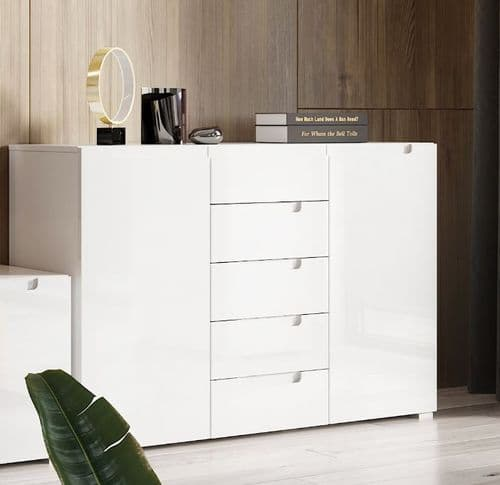 Perth High White Gloss 2 Door 5 Drawer Sideboard SZLYO03