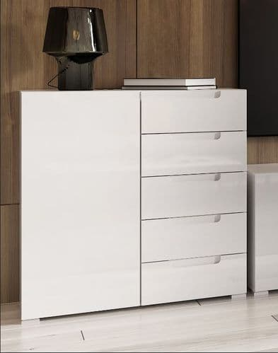 Perth High White Gloss Small Compact Sideboard Storage Unit SZLYO01
