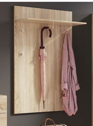 Perth Sonoma Oak Effect Wall Unit Wall Mounted Hallway Coat Rack With 1 Shelf  SZLY09