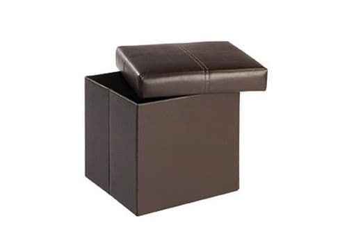 Pessac Small Brown Faux Leather Storage Stool 17LD144