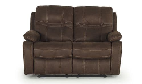 Pomigliano Brown Volcara Fabric 2 Seater Recliner 18VD282