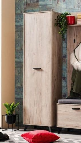 Priva Tall Slim Shallow Narrow Wardrobe In Grey Oak Effect