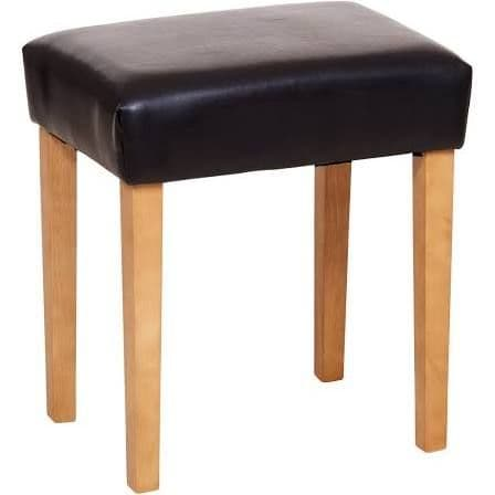 Puebla Brown Stool Faux Leather, Med Wood Leg ML200BR-M